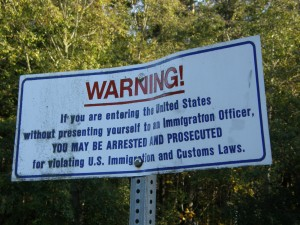 Border warning sign