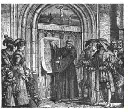 Reformation leader Martin Luther nailing 95 theses to the church door