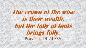 The crown of the wise is their wealth